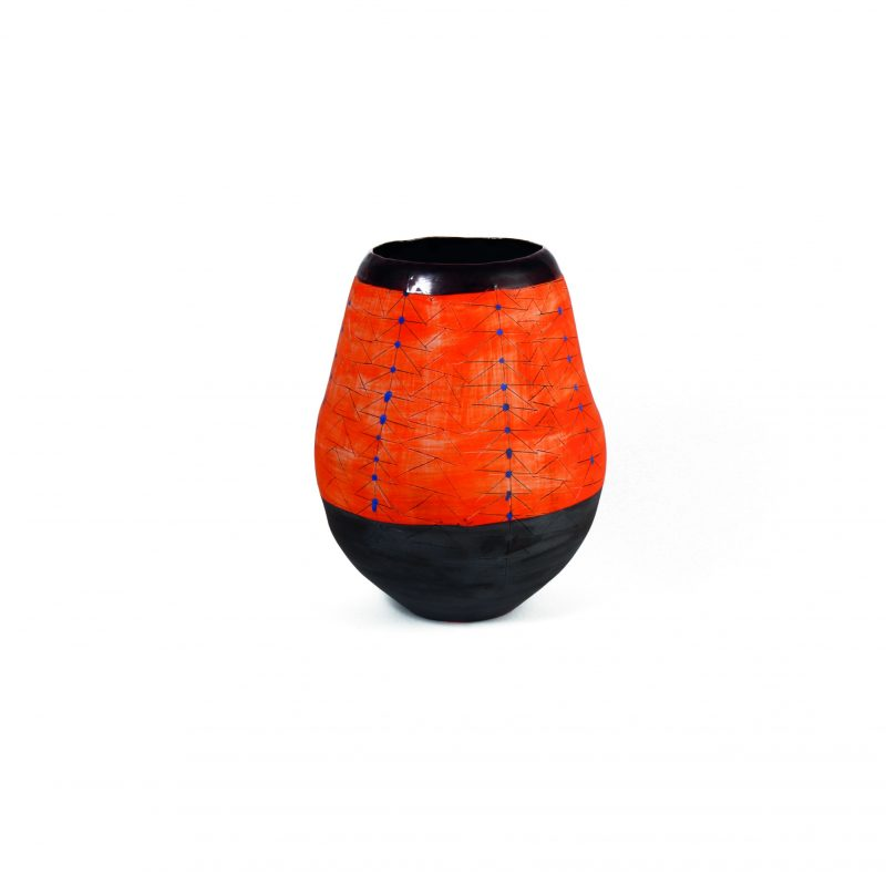 'Handpinched' Udu Vase (Orange Gold Rim)